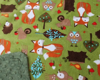 Minky Blanket Forest Friends Fox Owl Print Minky with Hunter Green Dimple Dot Minky Backing - Perfect Size a Toddler or Child 36 x 42
