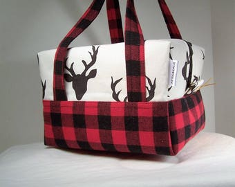 Red and Black Buffalo Check Plaid Flannel, Lunch bag Insulated, bento box lunchbox, adult lunch box, lunch cooler, cosmetic Bag