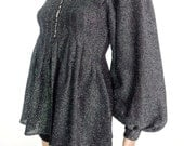 Gorgeous 70s Glam Rock Lurex Babydoll Smock Style Top With Customised Star Button Detail