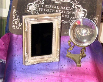 Antique Black Mirror for Scrying and Divination Fortune Telling Silver Baroque Victorian Antique Gift Haunted House