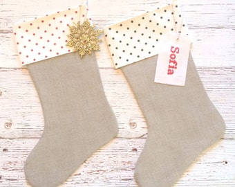 Personalized Christmas Stockings,Embroidered Cuff,Burlap Look Linen Fabric,Christmas Stocking,Stockings,Monogrammed,Personalized Stockings