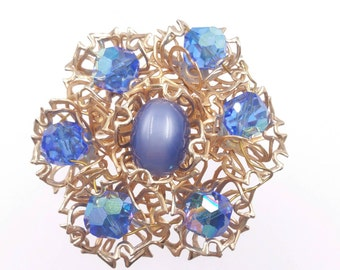 1960's Blue Moonglow Brooch, Blue Aurora Borealis Crystal Brooch, Wild Gold Tone Wire Filigree Setting, Something Blue Brooch