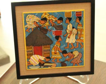 Tendai Chirwa Fetching Water From the Bone Hole Acrylic Painting on Board Framed