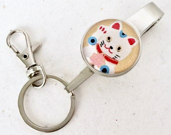 PURSE KEY FINDER Japanese washi handmade paper key chain key hook with lobster clasp Manekineko Lucky cat gift envelope included