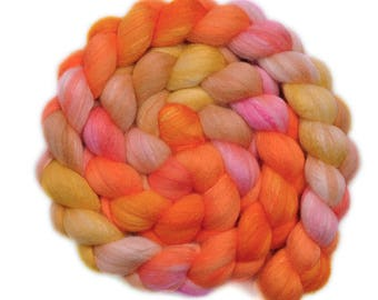 Hand dyed roving - Silk / Polwarth 40/60% wool roving - 4.1 ounces - Creamsicles 2