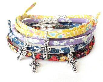 Confirmation gift for girls, cross bracelet with adjustable sliding knots, adult baptism, choose your colour and number of beads