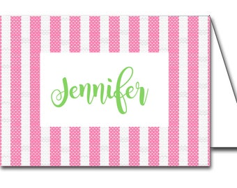 Instant Download Cherry Pink Seersucker Printable Place Cards