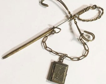Vintage Wire Wrapped Sword Pin with Dangling Photo Locket