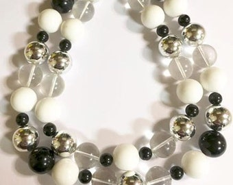 Vintage Double Stranded Black White Silver Chunky Beaded Necklace