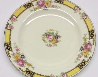 Bread Plate 6 inch Edwin M. Knowles China Company Made in USA 41-3 Yellow Band With Purple and Black Pink Roses