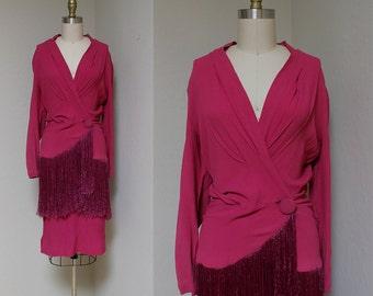 UNIQUE 1940s Fringe Suit / Fuchsia Flutter Set / Vintage 30s 40s Rayon Two Piece Dress / S M