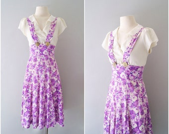 ADORABLE 1930s pinafore / 30s 40s floral cotton deco overall sundress