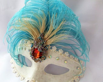 Masquerade Mask, White Blue Mask,Crystal Mask, Ostrich Feather Mask,Bridal Accessory