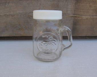 """Anchor Hocking Golden Harvest Salt or Spice Shaker / Rustic / Small Mason Jar Shaker / 3 1/2"""" Dispenser / Vintage Kitchen / Storage / Clear"""