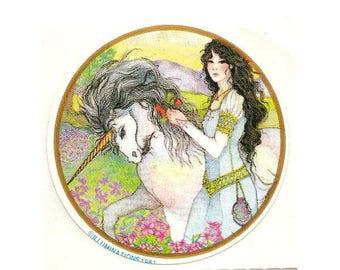 SALE Rare Vintage Illuminations Unicorn and Medieval Maiden Sticker - 1981 Fantasy