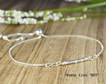 "Morse Code ""BFF"" Adjustable Sterling Silver Interchangeable Charm/Link Bolo Bracelet- Charm, Bracelet Chain, or Both"