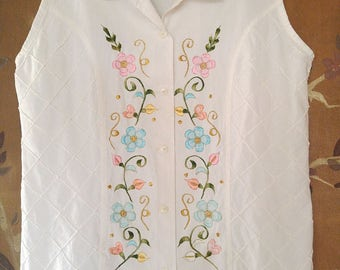 80s white embroidered sleeveless blouse