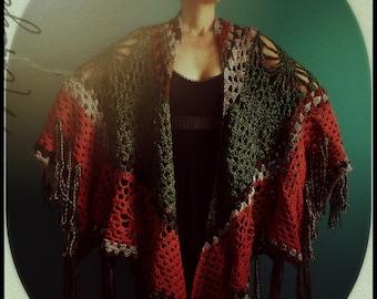 Crochet Shawl,Knit Shawl,Wrap,Cape,Poncho,Coat,Hippie Clothes,Boho Chic,Gypsy Clothing,Womens Clothing,One Size,Orange,Green,Brown,Fringe