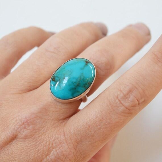 oval turquoise gem ring arizona turquoise bezel set stone. Black Bedroom Furniture Sets. Home Design Ideas