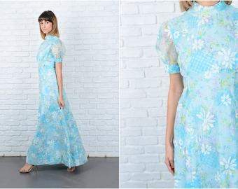 Vintage 70s Blue Mod Dress Floral Print Puff Sleeve Maxi Medium M 8859