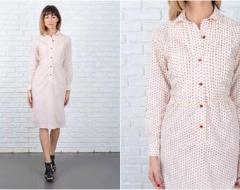 Vintage 70s Cream Boho Dress Red Floral Print shirt dress XS 8912