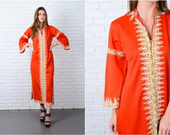 Vintage 70s Red Maxi Dress Ethnic Embroidered White long Sleeve Mod Large L 9048