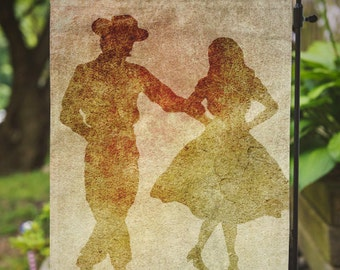 Country Dancers | Country Chic Decor | House Flag or Flag Lawn Decor | Garden or Large House Flag | Size via Dropdown | Convo for Custom