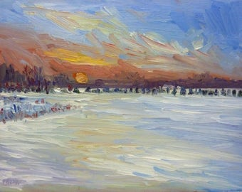 Winter Original Landscape Oil Painting Snow at Dusk