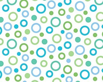 Blue & Green Circles on White from Northcott Fabric's Whale of a Time Collection by Deborah Edwards