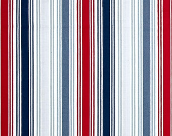Blue, Red, & Silver Multi Stripes from Andover Fabric's Marina Collection Designed by The Henley Studio
