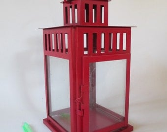 Candle Lantern, Vintage Red,  Romantic Emergency Hurricane Lighting Hanging Garden Deck Patio Holiday Decor Metal and Glass
