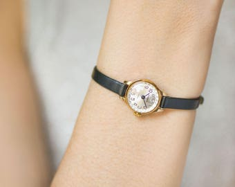 Small woman watch vintage, micro watch gold plated, unique watch Seagull, classic lady's watch, petite watch gift, new premium leather strap