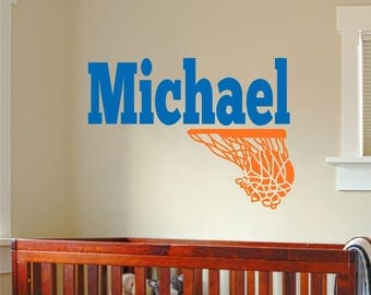 Name Wall Decal-  Name with Basketball - Boys Name Wall Decal - Nursery Decor - Teen Decal