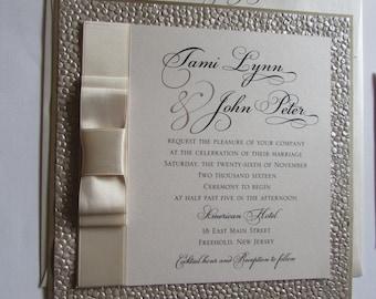 The Tami II/ Ivory, Champagne, Gold Wedding Invitation