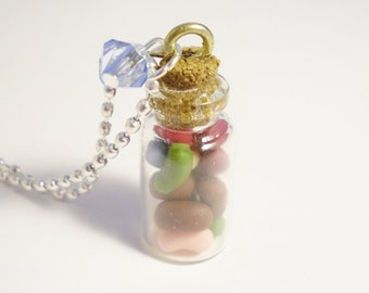 Jar of Jelly Beans Pendant. Polymer Clay