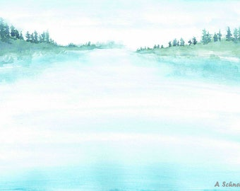 Watercolor Print, Landscape, Lake, Wall Decor