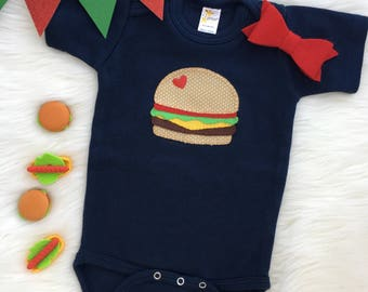 Hamburger baby bodysuit/onesie, hand sewn appliqué- personalize with your baby's name!