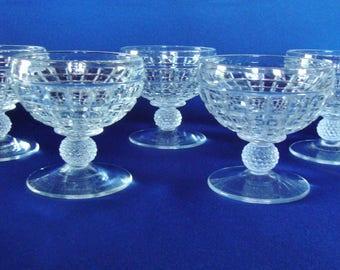 Heisey cut crystal low sherbet  elegant glass Victorian pattern clear glass