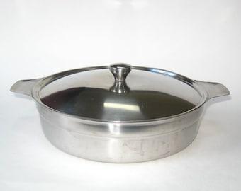Hackman Finland 18/8 Stainless Steel Covered Casserole Pot - MCM Lidded Bowl Saute Pan Sorsakoski