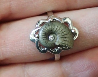 Pyritized Fossil ammonite and diamond sterling silver ring! Size 6-3/4