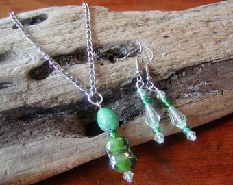 Handblown Green Art Glass Necklace Earring Set