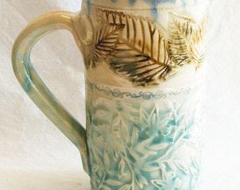 floral leaf ceramic coffee mug 20oz. stoneware 20C047