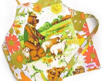 Humphrey B Bear . Humphrey In The Garden . Handmade Vintage Retro KIDS Kitchen Apron - Christmas Birthday, Children's Gift Idea . Child