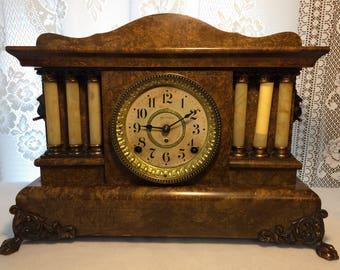 Elegant Antique Seth Thomas Adamantine Pillar Mantel Clock