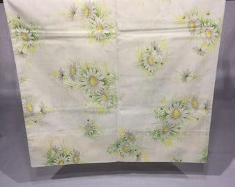 Vintage Floral pillowcase, daisy, pillowcase, green, yellow, white, flower, standard, light blue background, daisies