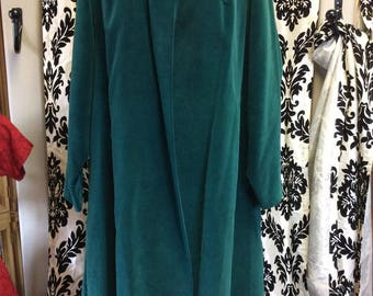 1960's Hunter Green Velvet Swing Coat