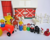 New Years SALE 40% OFF Vintage Fisher Price Play Family Farm Little People #915  With Original Box, 1968, 1977