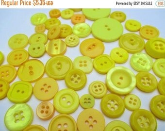 Spring SALE 20% Off 55 Banana Yellow Button Mix ...Sew, Scrapbook, Button Art, Jewelry Making~Destash Vintage New-Old Stock