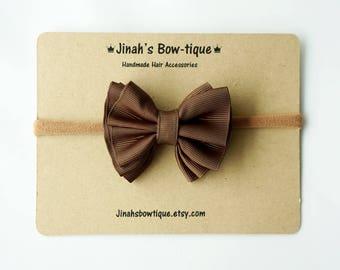 Gathered Hair Bow -Brown- Hair Clip or Nylon Headband