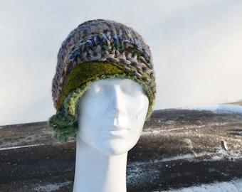 winter knit hat tan retro cloche, lilac beige green felt decoration, womans beanie, unique fashion, asymmetric, elegant cappuccino beanie 2c